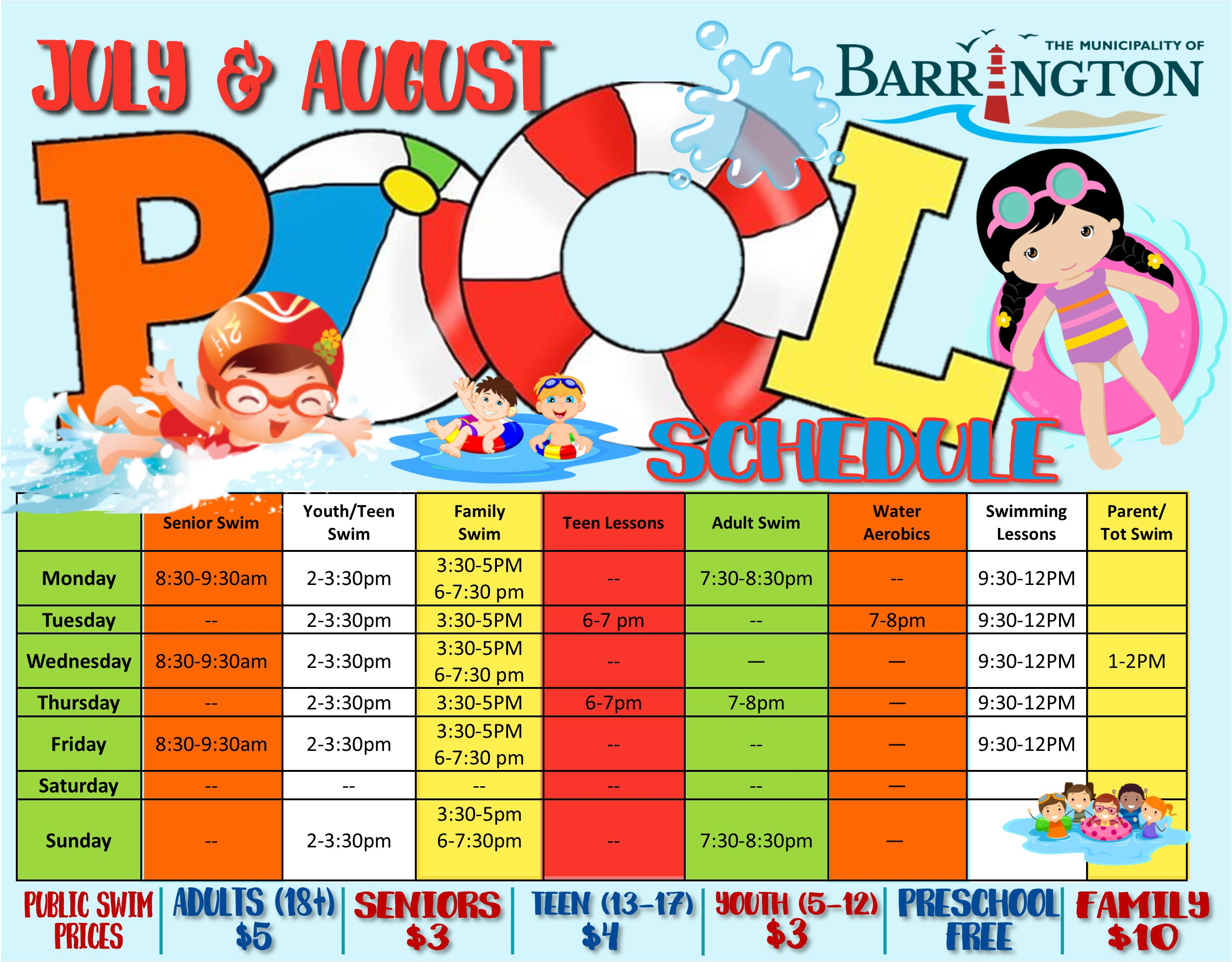 July August Pool Schedule